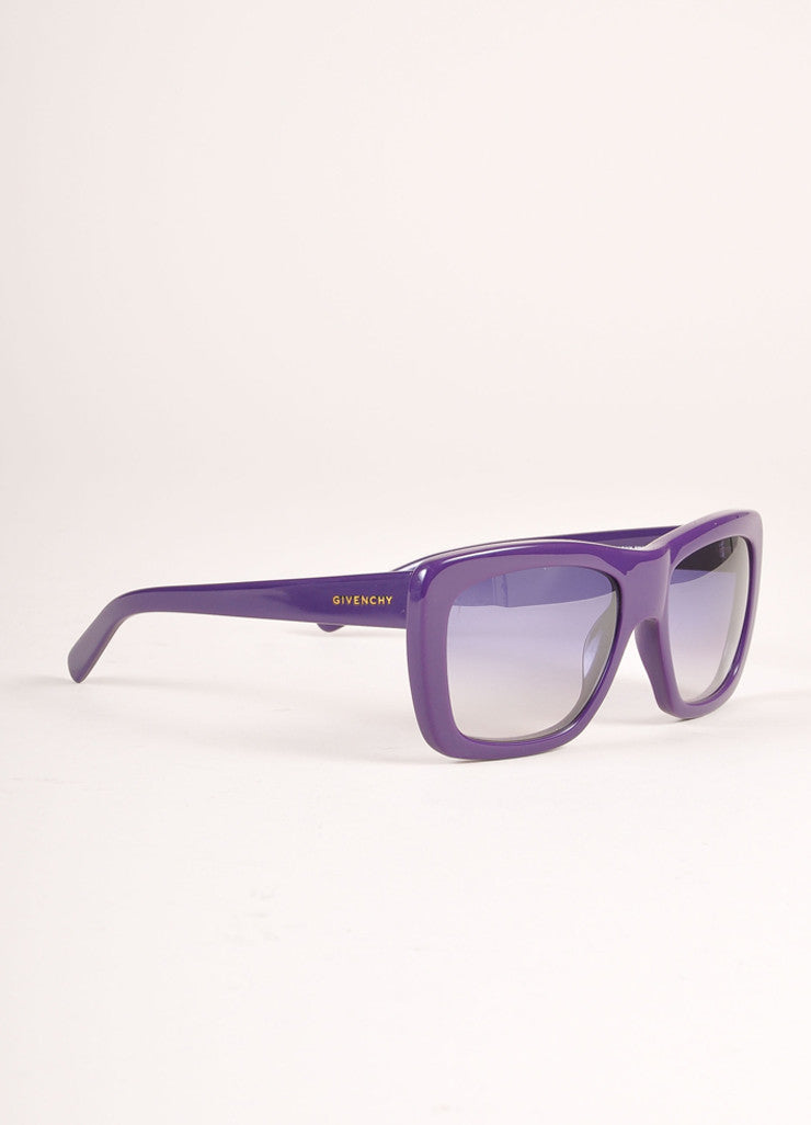 "Givenchy New With Tags Purple Plastic ""SGV 755"" Square Sunglasses Sideview"