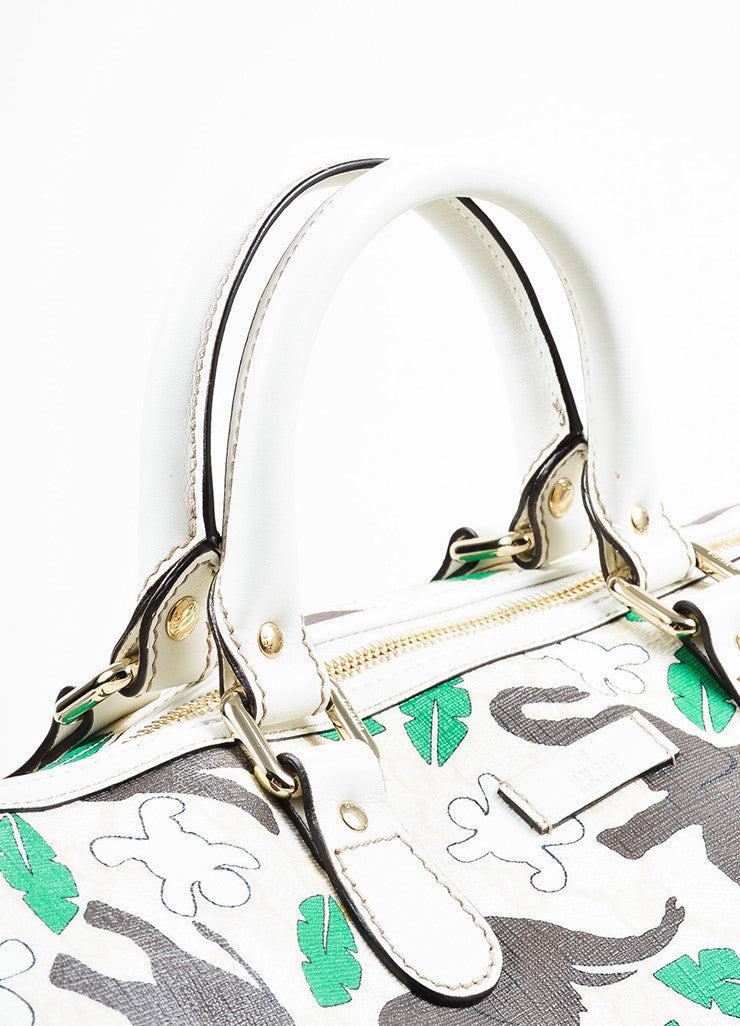"Gucci Cream, Brown, and Green Coated Canvas Elephant Print ""Boston"" Handbag"