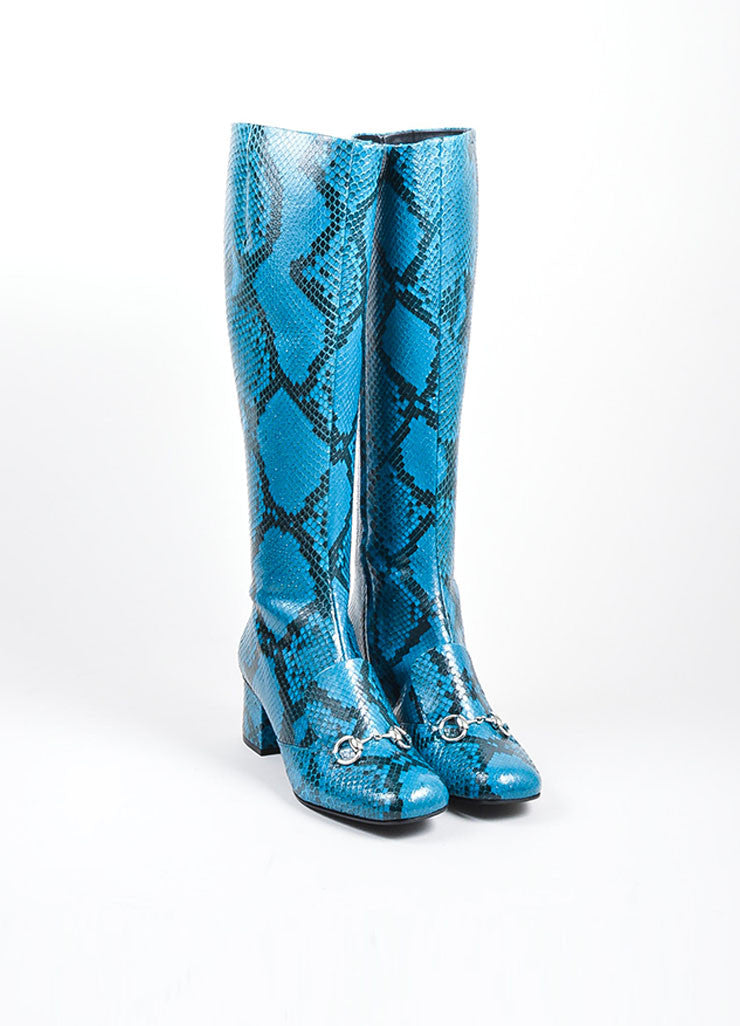 Blue Gucci Snakeskin Leather Horsebit Knee High Block Heel Boots Frontview