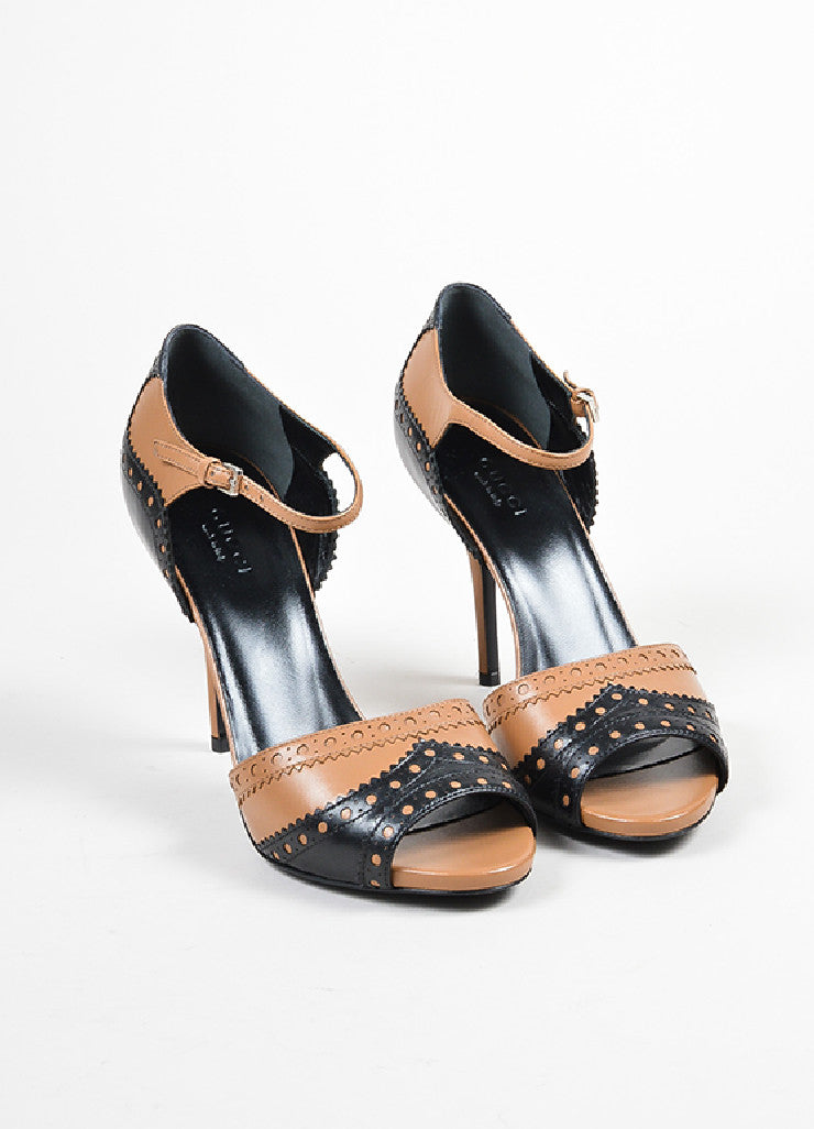 Tan and Black Gucci Leather Brogue Peep Toe Ankle Strap Sandals Frontview