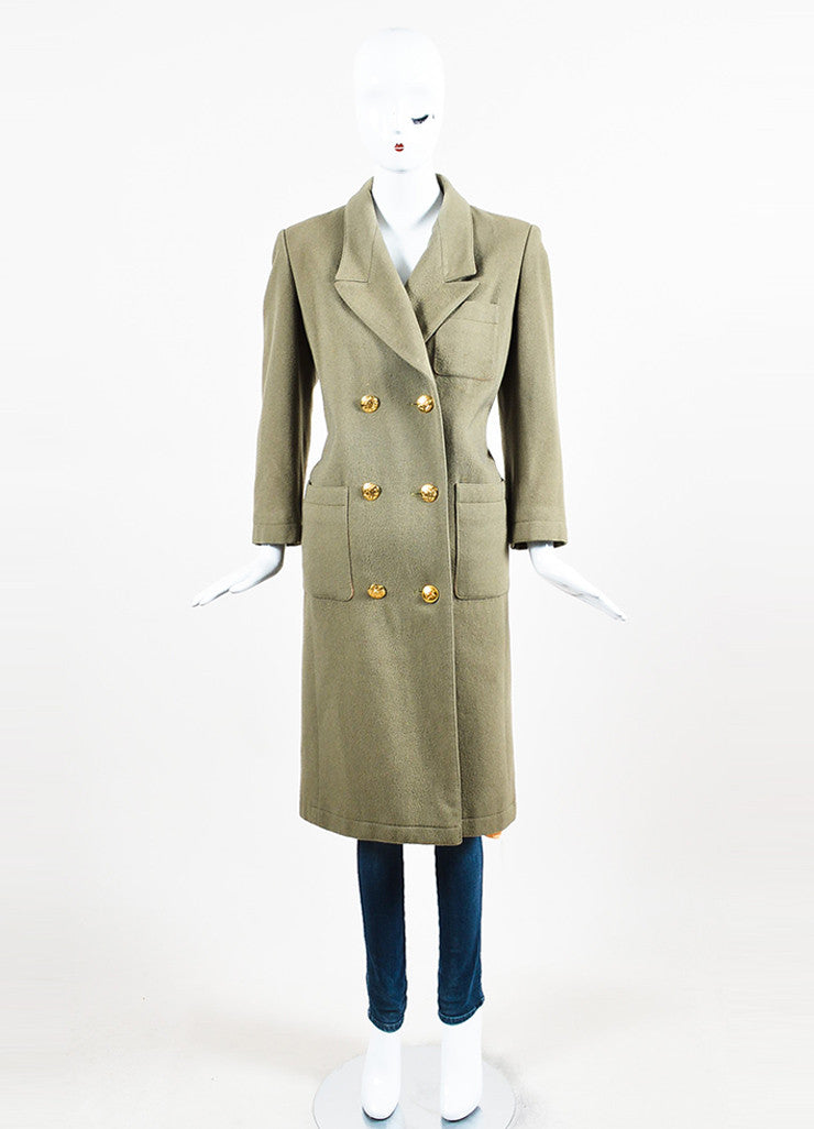 Hermes Olive Green Cashmere Notch Lapel Double Breasted Trench Coat Frontview 2