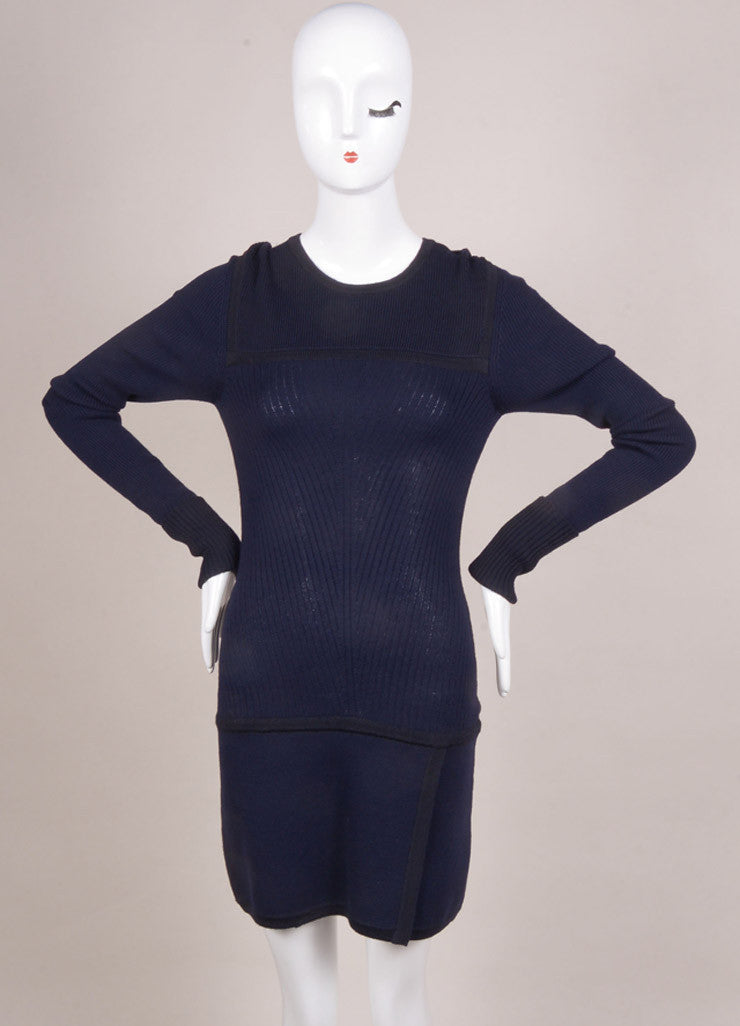 "Isabel Marant New With Tags Navy and Black Wool Knit ""Bingham"" Dress Frontview"