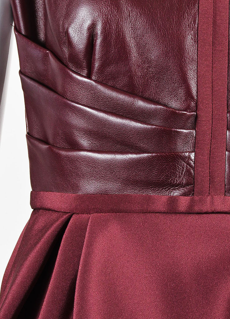 J. Mendel Burgundy Leather Pleated Detail Sleeveless Peplum Top Detail