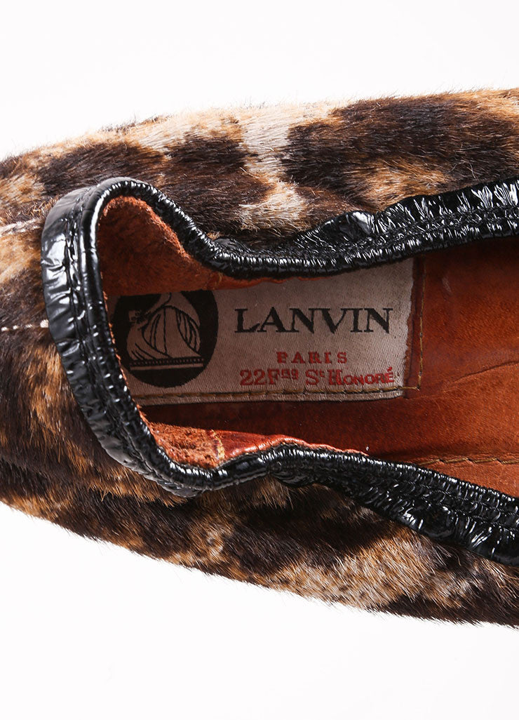 Lanvin Black and Brown Pony Hair Leopard Print Embellished Elastic Flats Brand