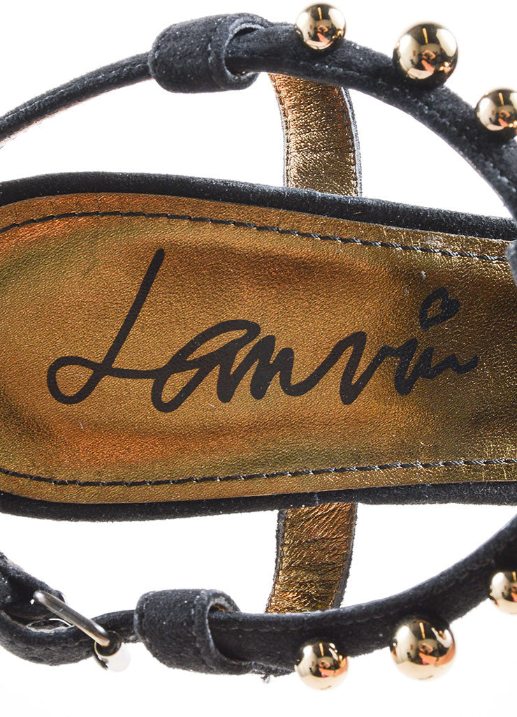 Lanvin Black and Gold Toned Suede Studded Chunky Heel Thong Sandals Brand