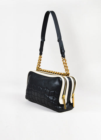 "Lanvin Black Off White Leather Quilted GHW ""Padam Chain"" Shoulder Bag angle"