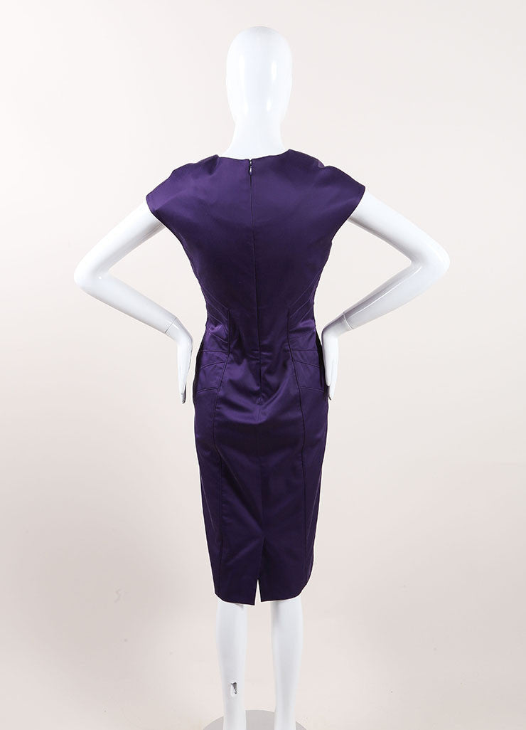 Lela Rose New With Tags Dark Purple Paneled Split Neck Sleeveless Sheath Dress Backview