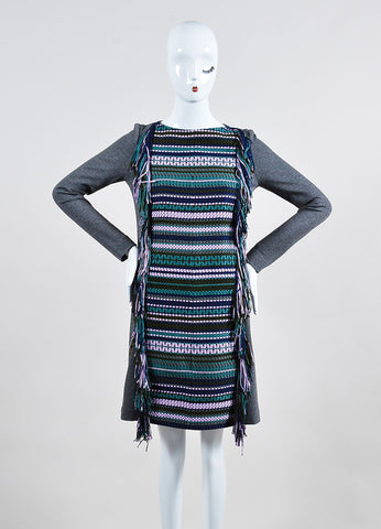 Grey and Multicolor ̴å«?ÌÎÌÏLela Rose Woven Fringe Long Sleeve Tunic Dress Frontview