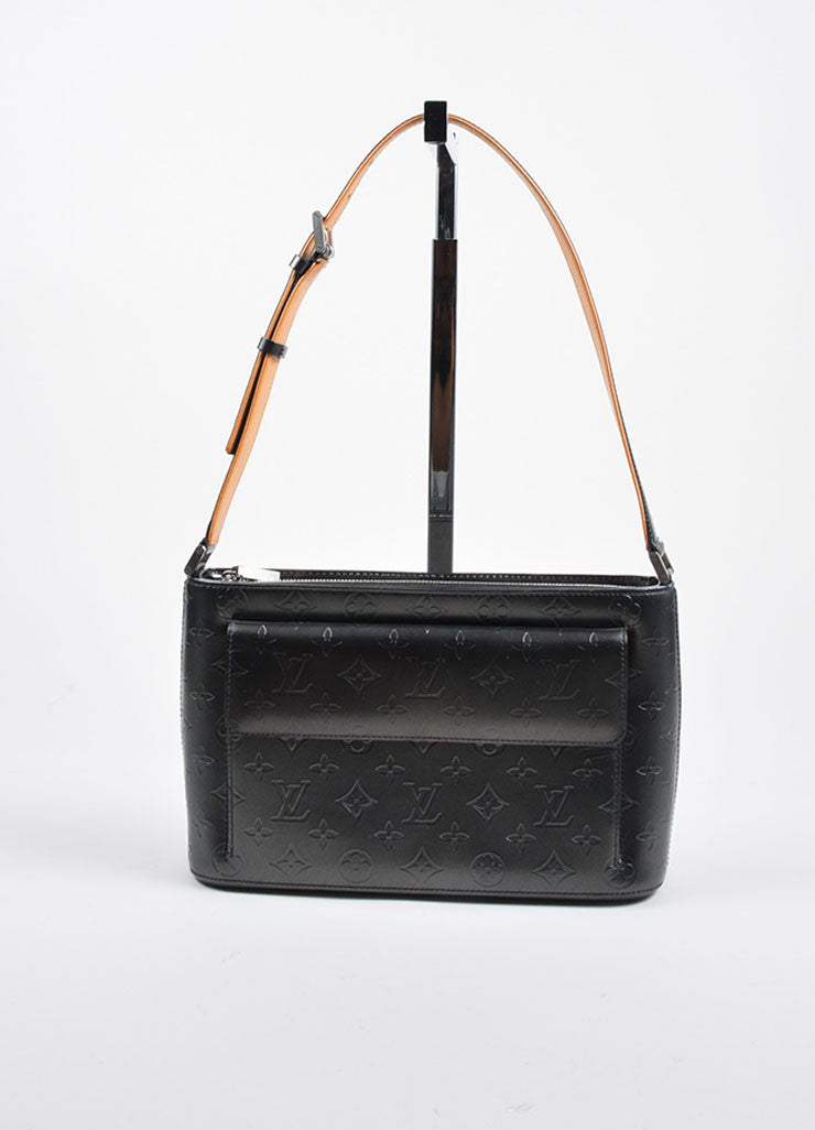 "Black-Grey Matte Leather Louis Vuitton Embossed Monogram ""Allston"" Shoulder Bag Frontview"