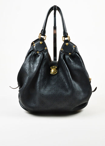 "Louis Vuitton Black ""Mahina"" Leather Monogram ""L"" Hobo Shoulder Bag Frontview"
