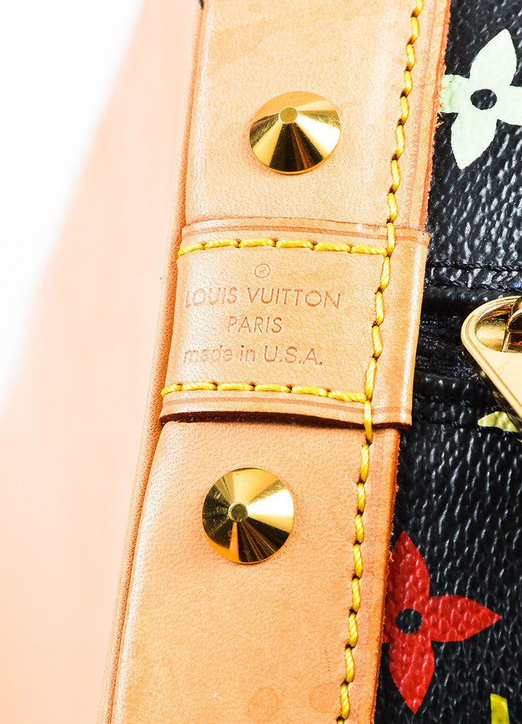 "Louis Vuitton Black Monogram Multicolore ""Alma PM"" Satchel Tote Bag Brand"