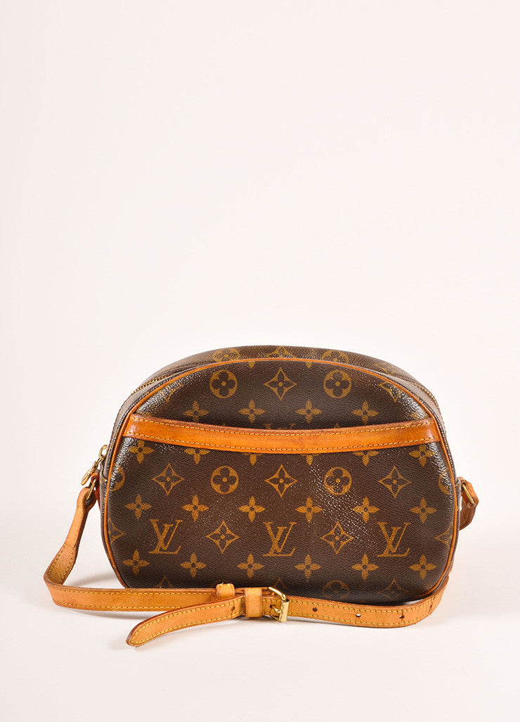 "Louis Vuitton Brown and Tan Coated Canvas Leather Monogram ""Blois"" Crossbody Bag Frontview"