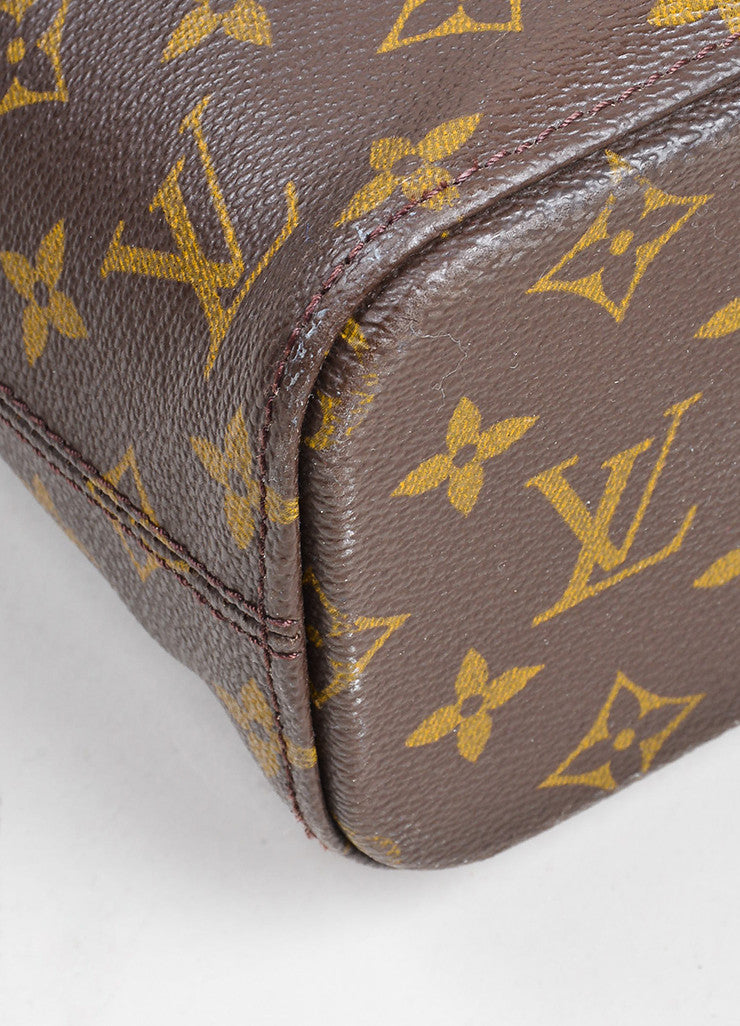 "Brown and Tan Louis Vuitton Coated Canvas Monogram Logo ""Luco"" Tote Bag Detail"