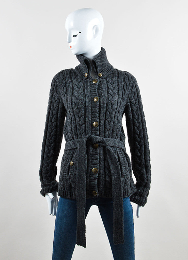 Louis Vuitton Grey Wool Cable Knit Belted Cardigan Frontview