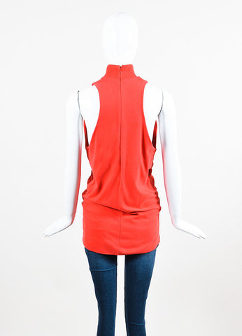 MM6 Maison Martin Margiela Red Mock Neck Ribbed Longline Top backview