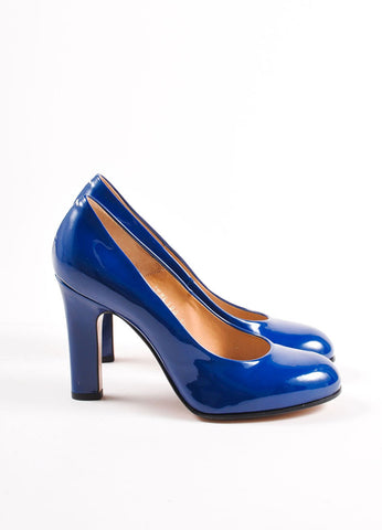 Maison Martin Margiela Dark Blue Patent Leather Round Toe Pumps Sideview