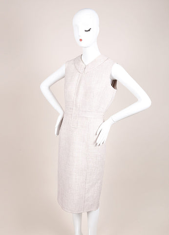 Marc Jacobs Beige Woven Sleeveless Collared Sheath Dress Sideview