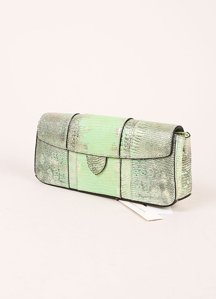 "Marc Jacobs New With Tags Green and Silver Reptile Leather Metallic ""Ruby"" Clutch Bag Sideview"