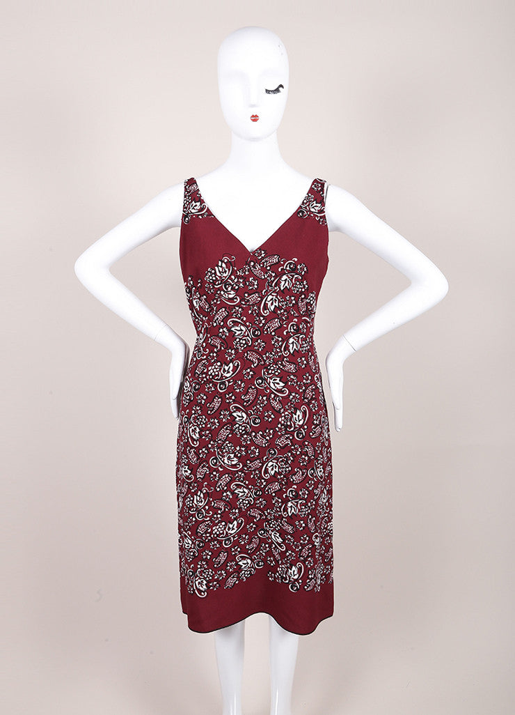 Marc Jacobs New With Tags Maroon, Black, and White Crepe Paisley Print Sheath Dress Frontview