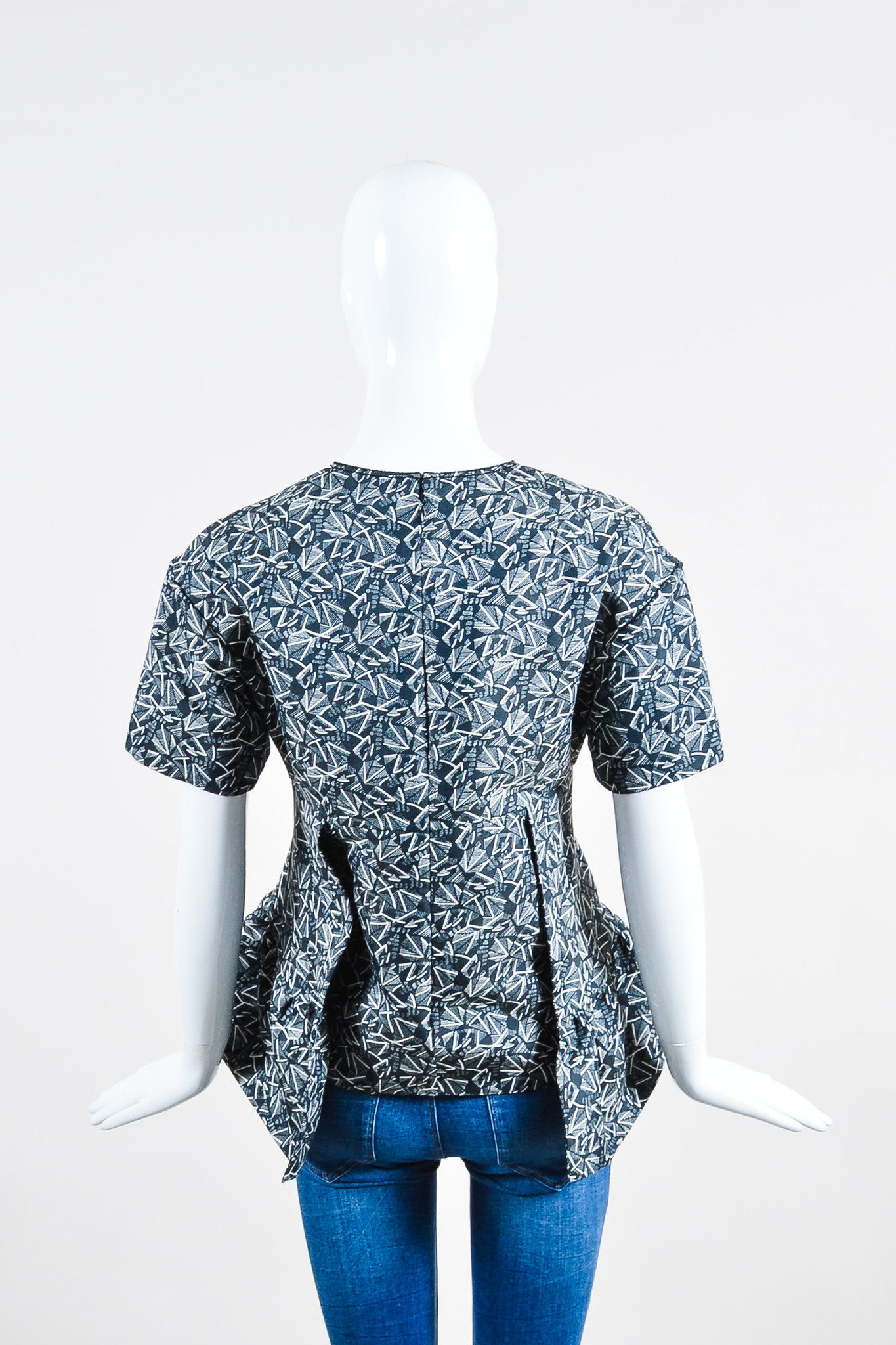 Blue-Grey and White Marni Geometric Print Pleated Short Sleeve Top Backview