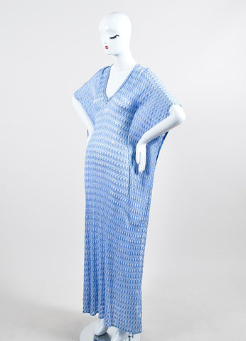 Blue and White Missoni Mare Open Knit Short Sleeve Kaftan Cover Up Beach Dress Sideview