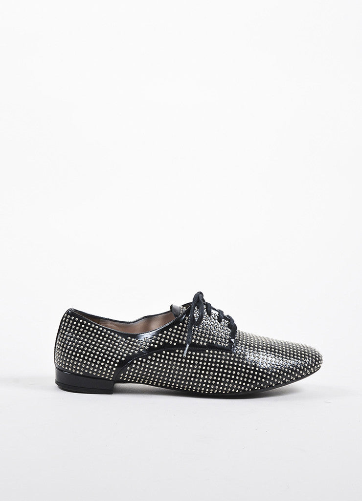 Miu Miu Black Patent Leather and Silver Toned Studded Lace Up Oxfords Sideview