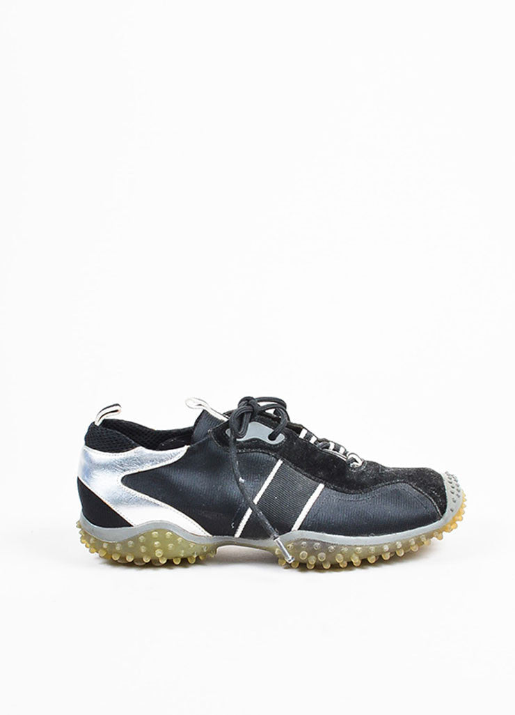 Miu Miu Black and Silver Metallic Leather Trim Treaded Sneakers