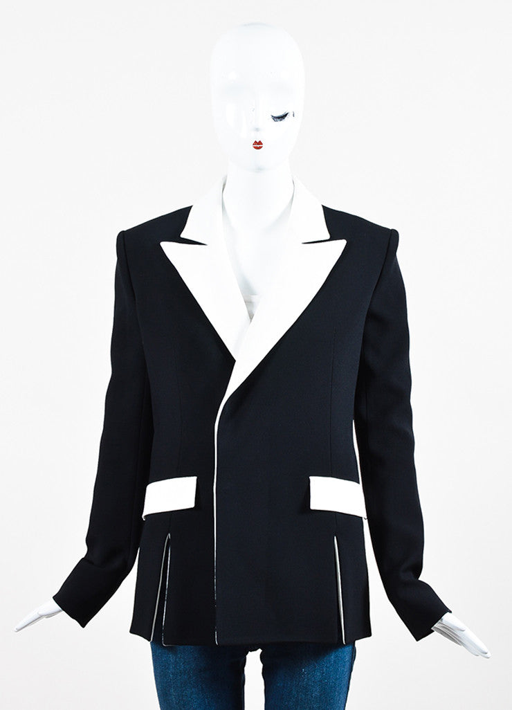 Mugler Black and White Crepe Contrast Blazer Jacket Frontview 2