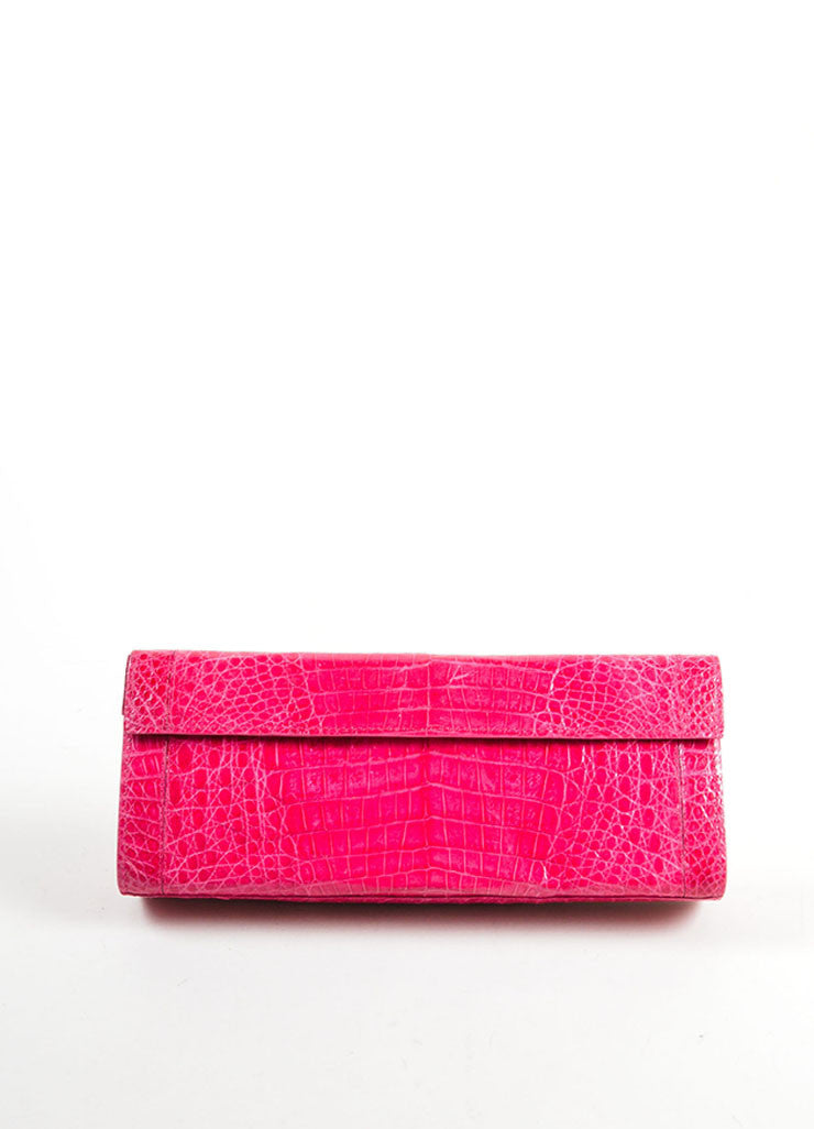 Nancy Gonzalez Hot Pink Crocodile Leather Rectangle Flap Clutch Bag Frontview
