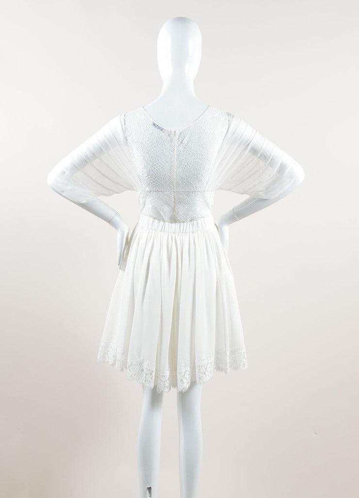 Nina Ricci White Silk Embroidered Lace Pleated Short Sleeve Dress Backview