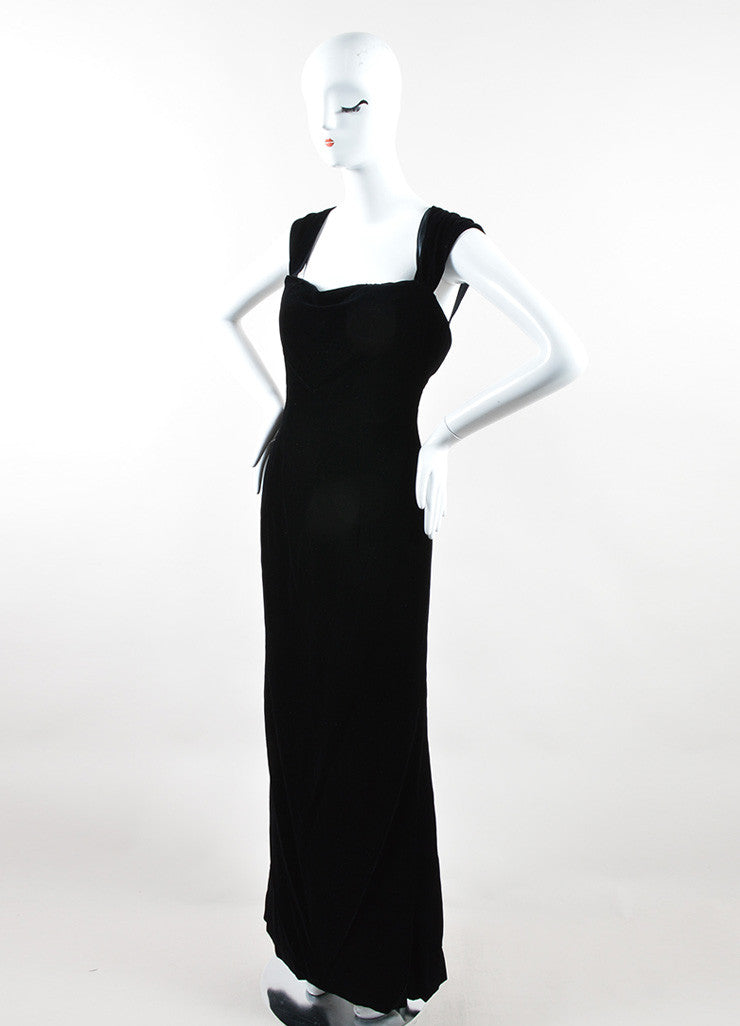 Oscar de la Renta Black Velvet Draped Full Length Sleeveless Gown Sideview