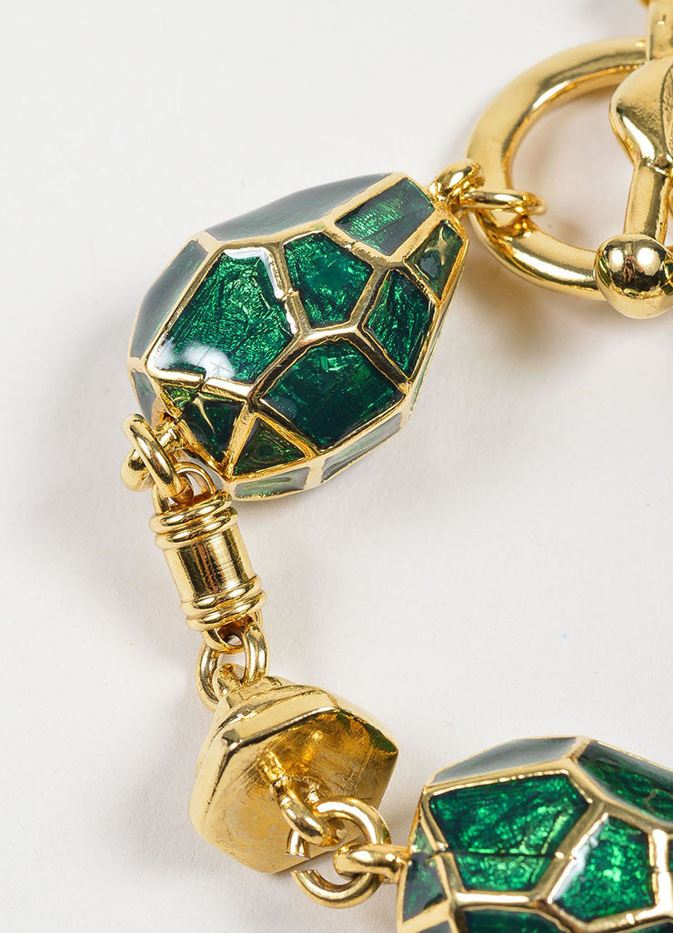 Gold Toned and Green Enamel Oscar de la Renta Geometric Link Bracelet Detail