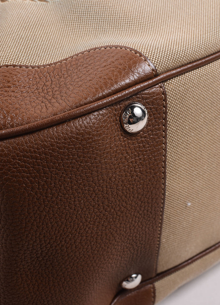 Prada Brown and Beige Canvas Fox Fur Trim Logo Tote Bag Detail