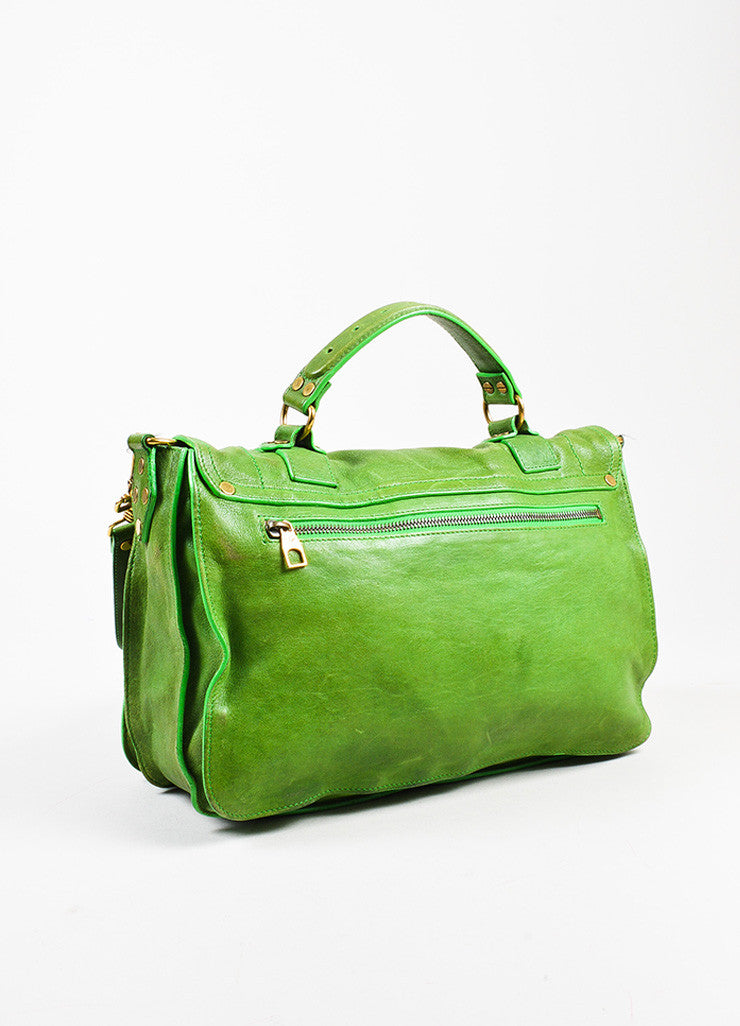 "Proenza Schouler Kelly Green Leather Medium Crossbody ""PS1"" Messenger Bag Sideview"