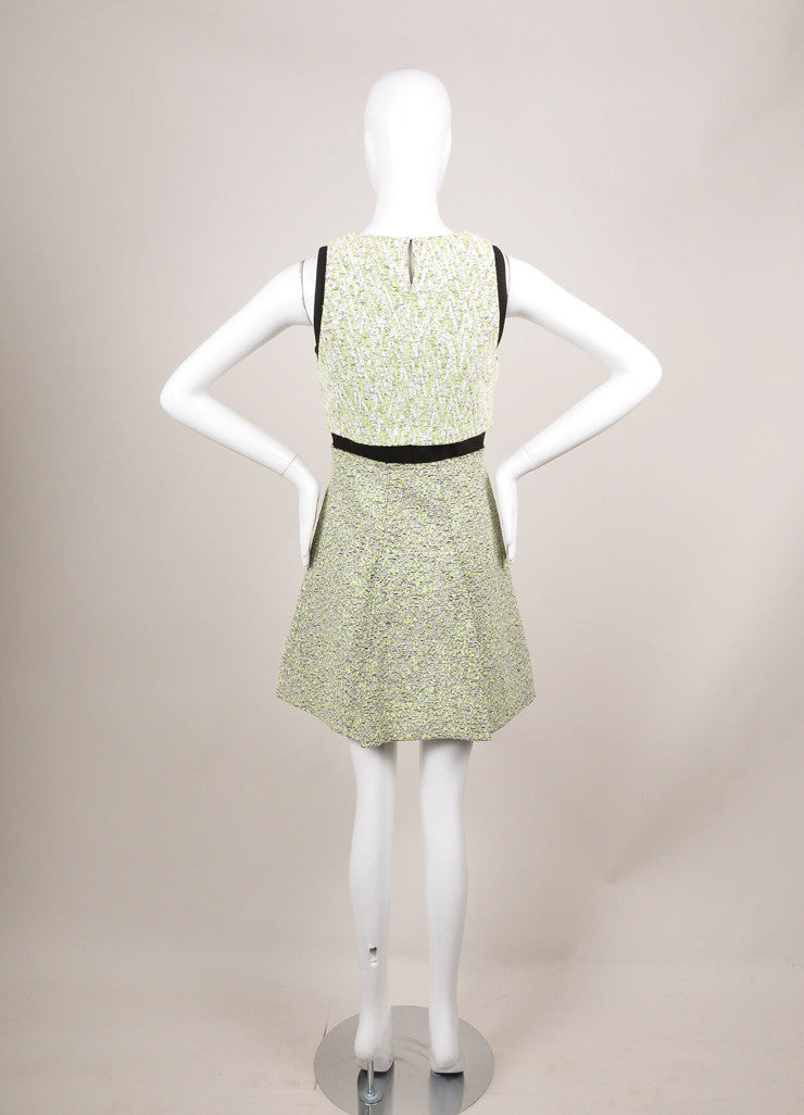 New With Tags White and Green Zig Zag Plater Jacquard Dress