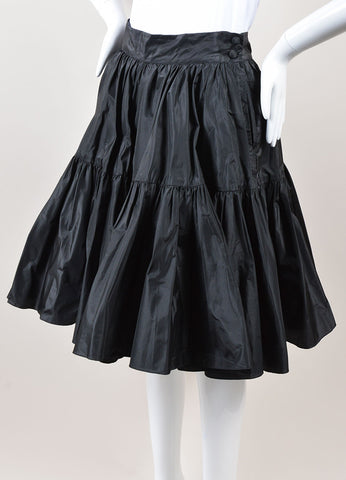 Ralph Lauren Purple Label Black Silk Taffeta Tiered Full Mini Skirt Sideview
