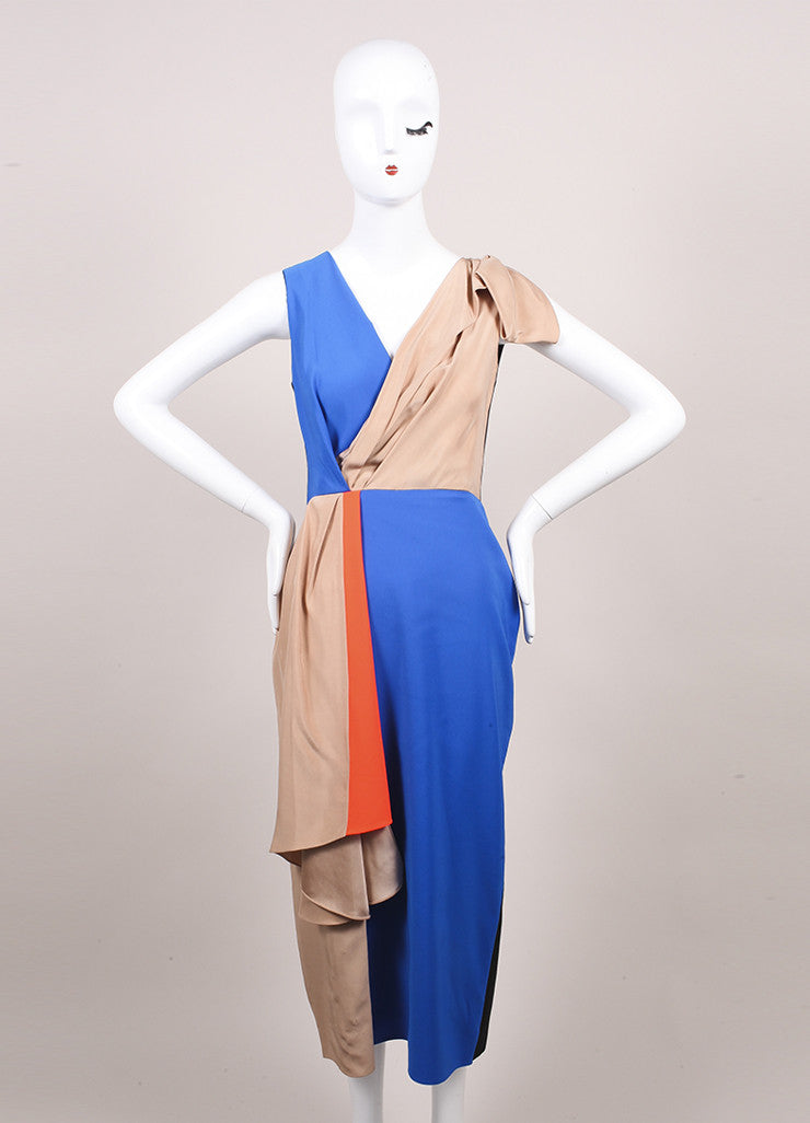 "Roksanda Ilincic New Multicolor Color Block Draped Sleeveless ""Shraya"" Dress Frontview"