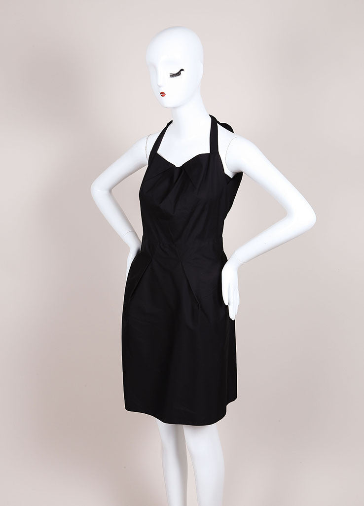 "Roland Mouret New With Tags Black Sleeveless Pleated Poplin ""Felis"" Dress Sideview"