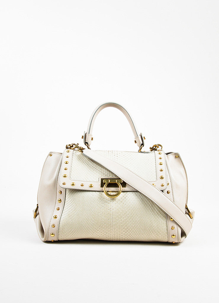 "Salvatore Ferragamo Grey Leather Python Studded ""Sofia"" Satchel Bag frontview"