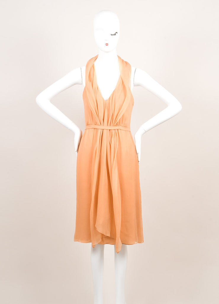 Sari Gueron Orange Silk Draped Racer Back Sleeveless Dress Frontview