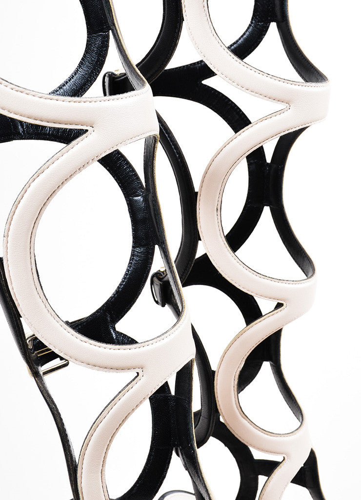 "Cream Black Sergio Rossi ""Arabesque"" Cage Sandals Detail"