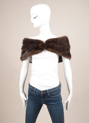 Albert Bolon Chicago Dark Brown Mink Stole Wrap Frontview