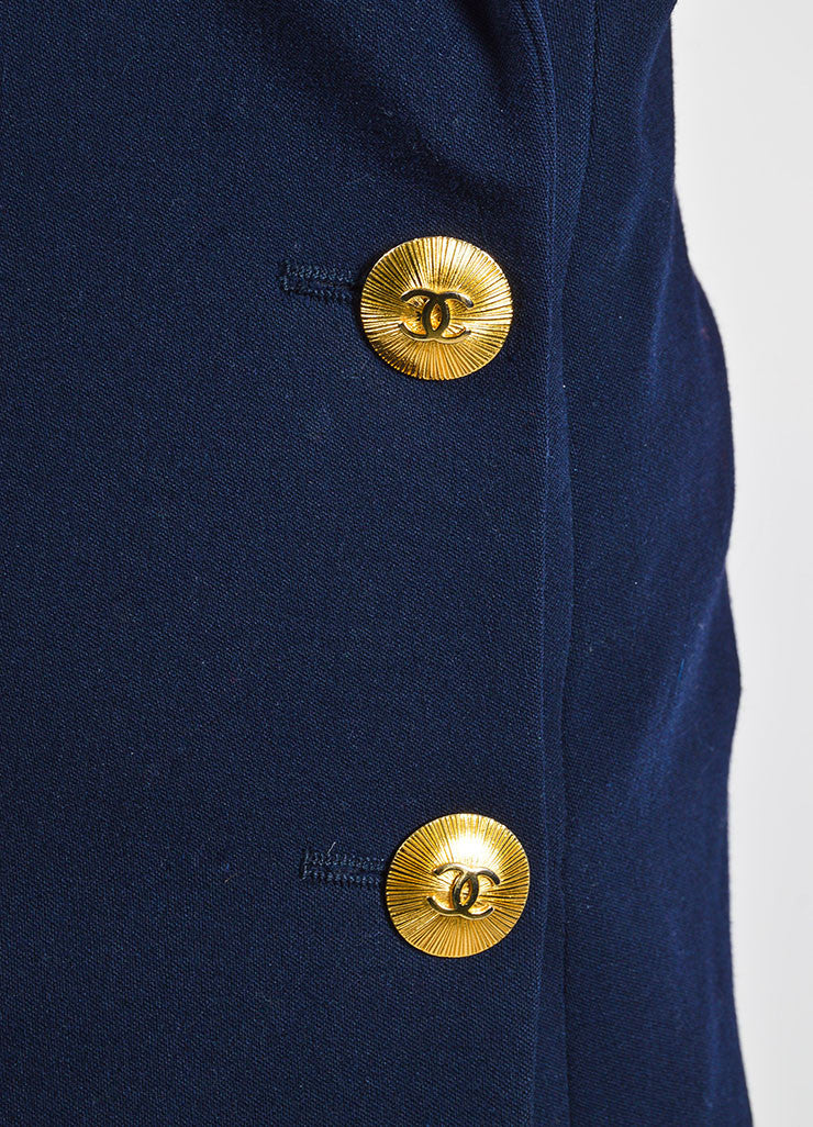 Chanel Navy Gold Toned Wool 'CC' Double Breasted Jacket Detail