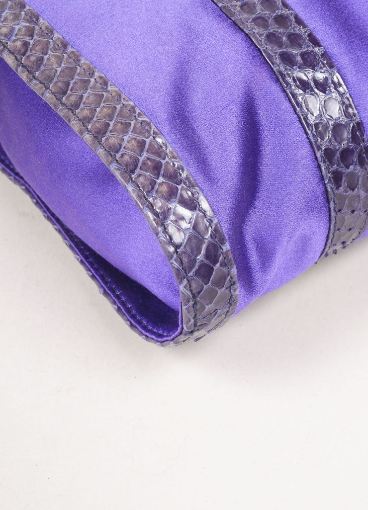 Fendi Purple and Grey Satin and Snakeskin Leather Zip Shoulder Bag Detail
