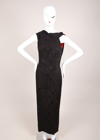 Gianni Versace Black and Red Floral Embroidered Asymmetrical Dress Frontview