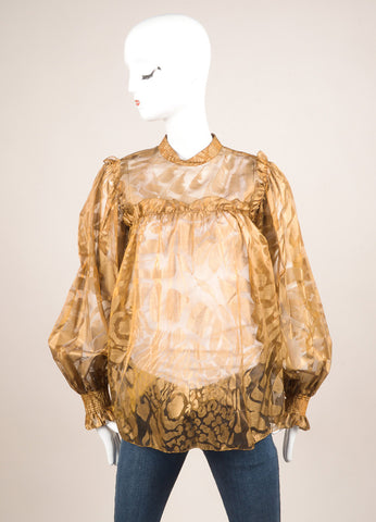 Giorgio Sant'Angelo Gold Sheer Long Sleeve Ruffle Blouse Frontview