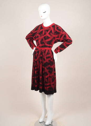 Missoni Black and Red Wool Knit Pleated Skirt and Sweater Set Sideview