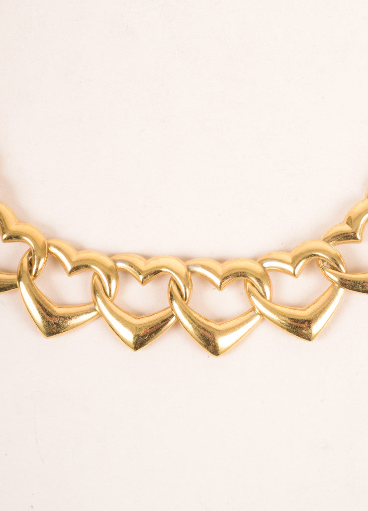 Yves Saint Laurent Gold Toned Link Open Heart Chain Necklace Detail