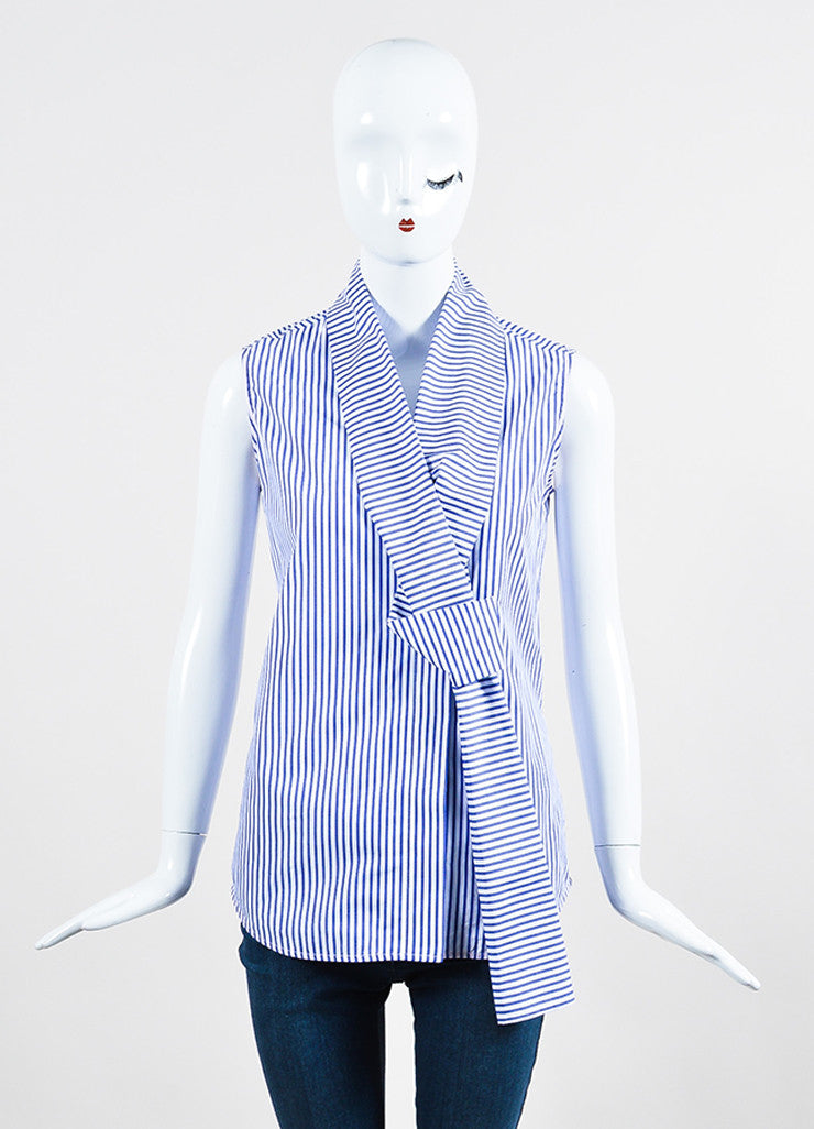 Blue and White Victoria Beckham Cotton Asymmetrical Tie Front Sleeveless Top Frontview