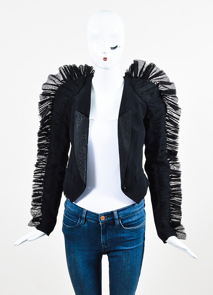 Viktor & Rolf Black Wool Mesh Ruched Ruffle Trim Blazer Jacket Frontview